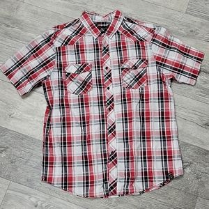 Surplus Size XL Red and Black Checkered Polo